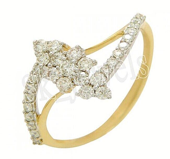0.75ct NATURAL DIAMOND 14K YELLOW gold WEDDING ENGAGEMENT CLUSTER RING