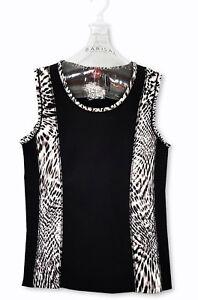 OLSEN-Tank-Top-Shirt-Damentop-Damenshirt-S-36-38-schwarz-weiss-animal-Leopard-K25