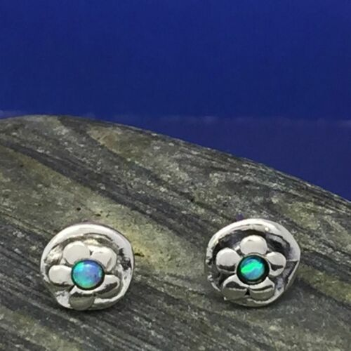 approx 8mm Round Daisy Studs With Opal Aviv Sterling Silver Jewellery E688
