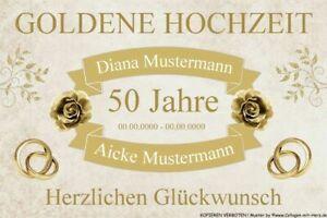 Details Zu Schild Geschenk Goldene Hochzeit 50 Jahre Individuell Mit Namen Datum A4