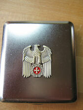 Reichsadler Gold m Rot Banner EK Zigaretten Etui Wehrmacht WXX WK2 Eagle Cross