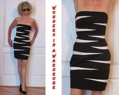 CACHE STRAPLESS STRETCH BODYCON BLACK AND WHITE DRESS Geometric design 6
