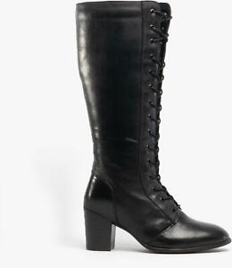 Lotus-MINA-Ladies-Womens-Leather-Knee-High-Lace-Up-Zip-Up-Tall-Heel-Boots-Black