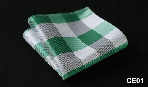 CE Check Men Silk Satin Pocket Square Hanky Wedding Party Handkerchief