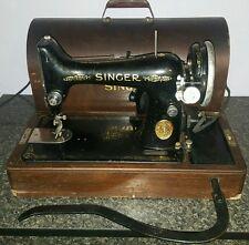 Vintage Singer Portable Sewing Machine 99-13 Wooden Case Knee Control Works