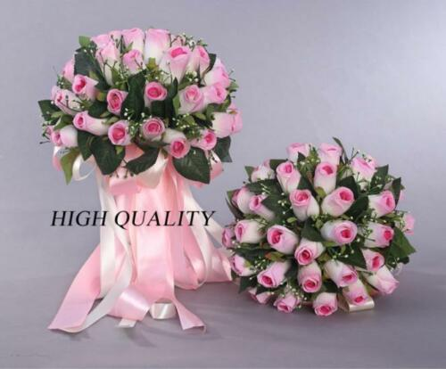 New 48//36//24 Pieces Of Artificial Roses Wedding Bridal Bouquet Bride Hand Flower