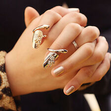 Fashion Punk Dragonfly Flower Rhinestone Jewelry Finger Tip Nail Ring - Gold