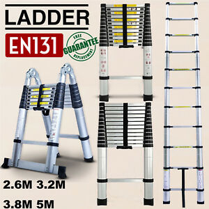 150kg Load Capacity High Quality Lightweight Pull-Out Ladder Autofather 3.2M Telescopic Ladder Aluminum Ladders Multi-Purpose Attic Ladder Extendable Step Ladder Straight Ladder