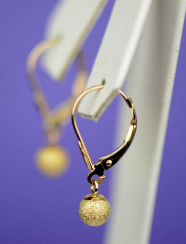 14k Yellow Gold Dangle Laser Cut Ball Leverback Pierced Earrings