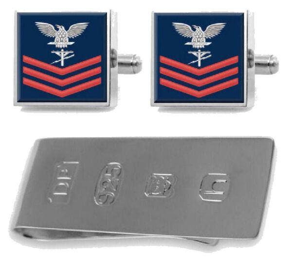 Sterling Manschettenknöpfe Geldklammer U.s Marineblau Rot E-6 Bau Elektriker Ce Direktverkaufspreis
