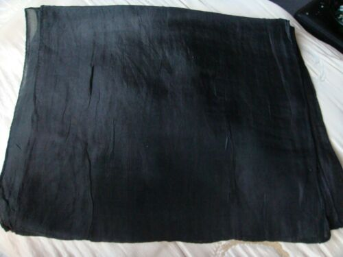 "100/%PURE INDIAN SILK HANDMADE PLAIN  BLACK LONG SCARF 10/""x 70/"" £9.50 NWT"