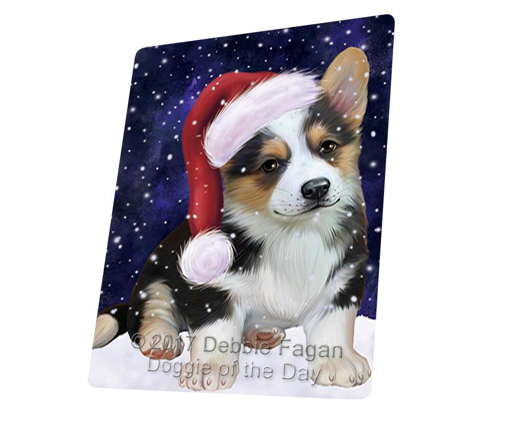 Let it Snow Christmas Holiday Corgi Dog Woven Throw Sherpa Blanket T74