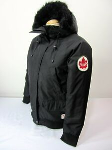 Hudson Bay Co. Canada Olympic Women s S Black Hooded Winter Jacket ... a90facd3eda7