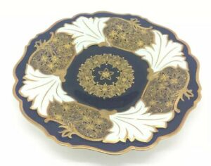 Echt-Weimar-Kobalt-Blue-Jutta-Bavaria-Germany-Porcelain-Plate-Gold-Flowers-10-034