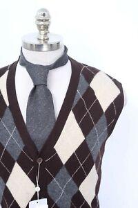 295-NWT-GRAN-SASSO-Brown-Argyle-Cashmere-5Btn-Sweater-Vest-56-2XL-Free-Tie