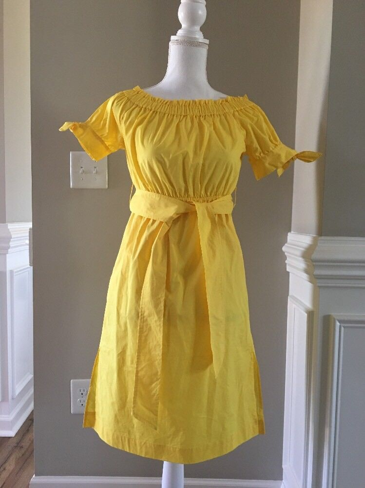 New J Crew Petite Off-the-shoulder Tie-waist Dress Citrus Yellow Sz 0P G6543