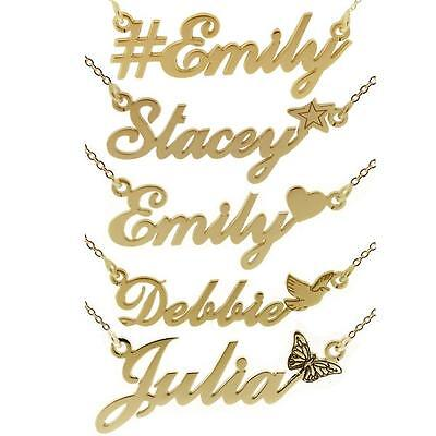 9ct Gold Plated Any Name Plate Necklace With Hashtag Star Heart Dove With Chain KöStlich Im Geschmack