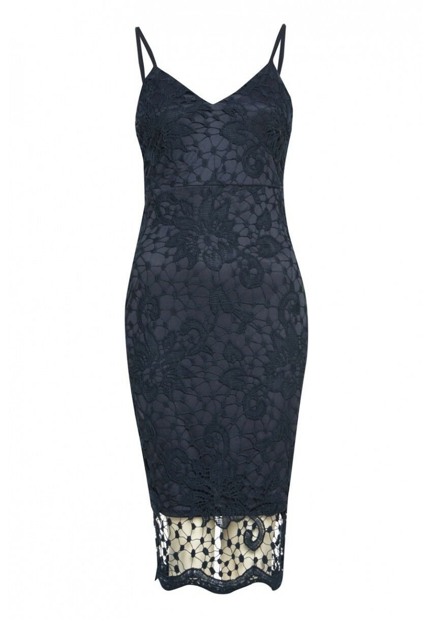 928e2147353 AX Paris Navy Crochet Midi Dress With Spaghetti Straps Size 8 10 12 14 (P21