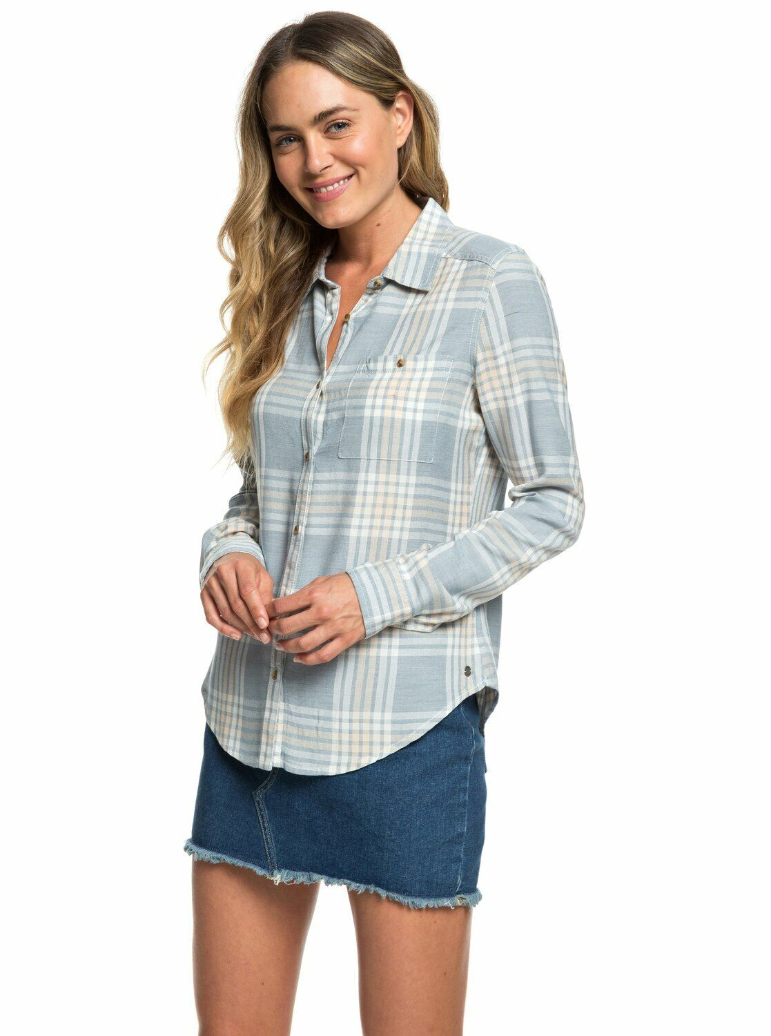 Roxy damen Capital Dream LS Casual Button Shirt - Blau Mirage Fields