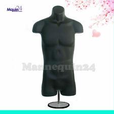 Male Torso Mannequin Black With Table Top Stand Hanging Hook Men Dress Form