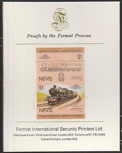 Nevis (2004) Locomotives - Pendennis Castle imperf on Format Int PROOF CARD