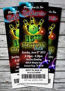 Laser BOWLING GLOW NEON Birthday Party Invitation TICKET ...