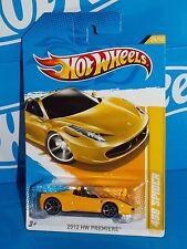 Hot Wheels 2012 HW Premiere #25  Ferrari 458 Spider Yellow w/ OH5SPs