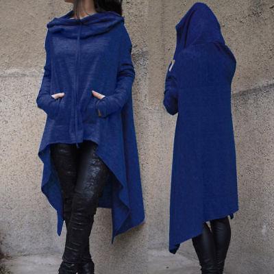 Women Lady Hoodie Sweatshirt Sweater Long Tops Knitted Loose Cloak Coat Outwear