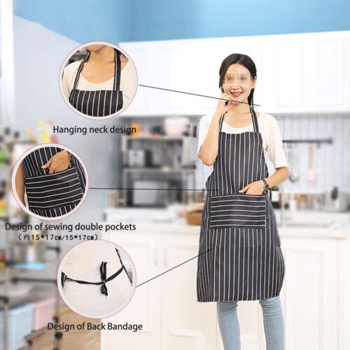 Double Pocket Classic Stripe Apron Restaurant Bistro Chef Waiter Apron Wearproof