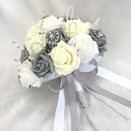 ARTIFICIAL WEDDING FLOWERS BRIDES POSY BOUQUET LEMON WHITE /& GREY ROSES