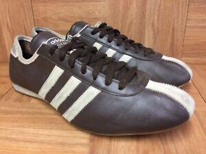 RARE-Adidas-Vintage-OKAPI-Trainers-Brown-Leather-Gum-Sz-10-5-Racer-Men-s-Shoes