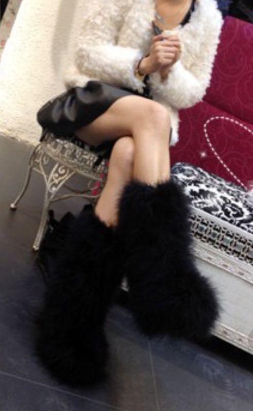 Women Ostrich Hair Woven Fluffy Warm Snow Winter Boots Casual Black Plush Boots