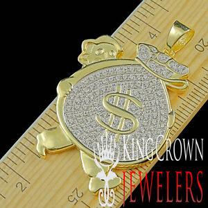 2-Tone-Real-Silver-Pendant-Man-Holding-Money-Bag-Yellow-Gold-Finish-Lab-Diamond