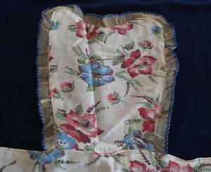 Vintage 40s Full Kitchen Apron Red Blue Poppies Organdy Embroidery Eyelet Unused