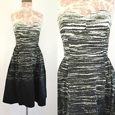 NWT Calvin Klein Black & White Strapless Retro Cocktail Dress Size Small 4