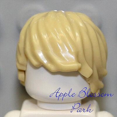 NEW Lego Minifig Male//Boy Tousled TAN HAIR Side Swept Light Blonde Head Gear