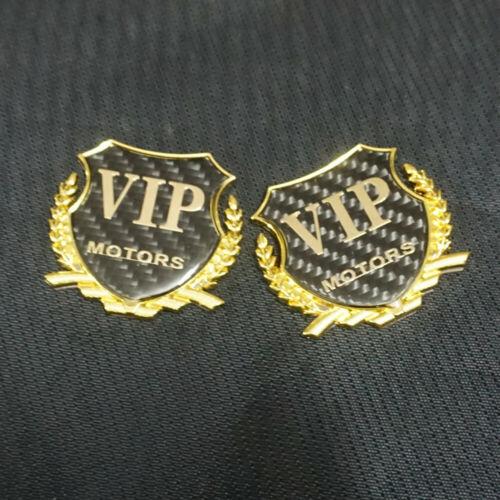 2x Golden VIP MOTORS Metal Carbon Fiber Sticker Badge Emblem Car Decal 3D Racing