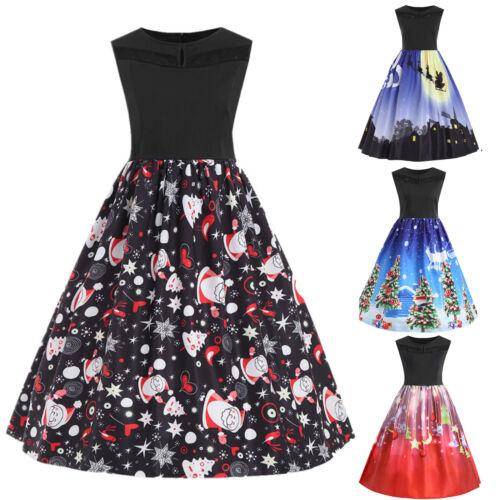 Damen Weihnachten Rockabilly Skaterkleid Minikleid Party Swing Weihnachtskleid