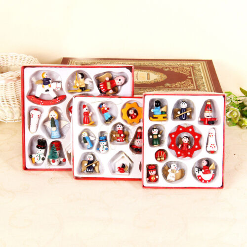 24PCS Christmas Xmas Tree Decoration Traditional Wooden Hanging Ornament Toy Set