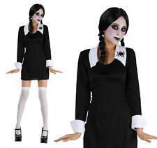 Childrens School Girl Fancy Dress Costume Wednesday Addams Halloween S