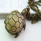 Vintage Retro Bronze Turtle Pendant Necklace Quartz Chain Pocket Watch as Gift