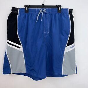 Speedo-Mens-Mesh-Lined-Swim-Trunks-Shorts-Blue-Black-Pockets-Size-2XL