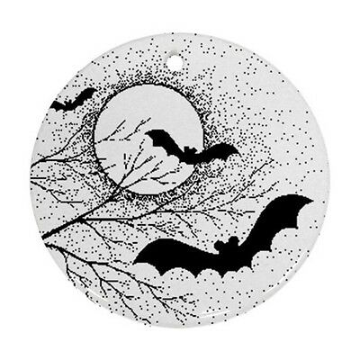 Halloween Bats Full Moon Round Porcelain Christmas Ornament
