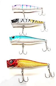 Lot-of-4-New-Fishing-Lures-Top-water-Popper-Crankbait