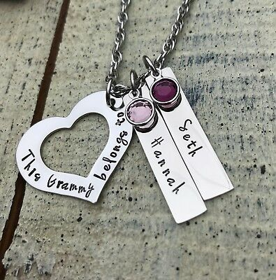 Mimi Charm Necklace Personalized Grandchildren/'s Name Custom Jewelry Gift