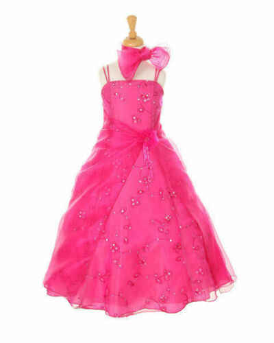 Pretty Two Tone Sequin Embellished A-Line Organza Flower Girl Dress Bridesmaid