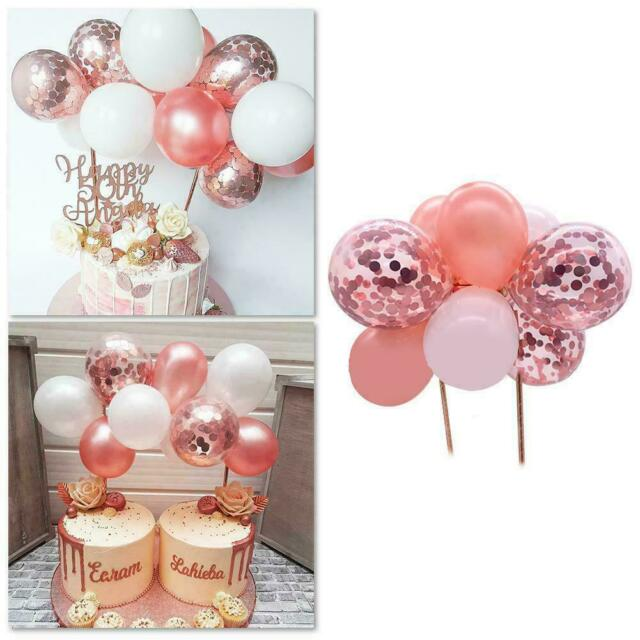 ROSE GOLD BALLOON CAKE TOPPER CONFETTI BABY PARTY BIRTHDAY GARLAND WEDDING D7Q7
