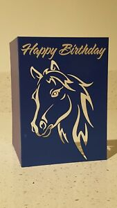 Cute Pony Horse Blue Equestrian Luxury Happy Birthday Card