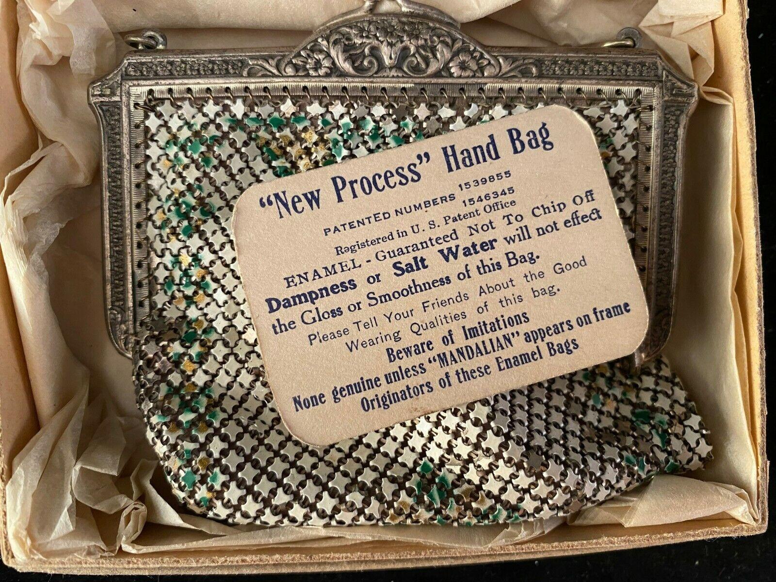 Vintage Art Deco Enamel Mandalian Hand Bag w/ ORI… - image 1