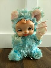 """Rushton Vintage Rubber Face Star Creations Blue Blue with Tears Handkerchief 8"""""""